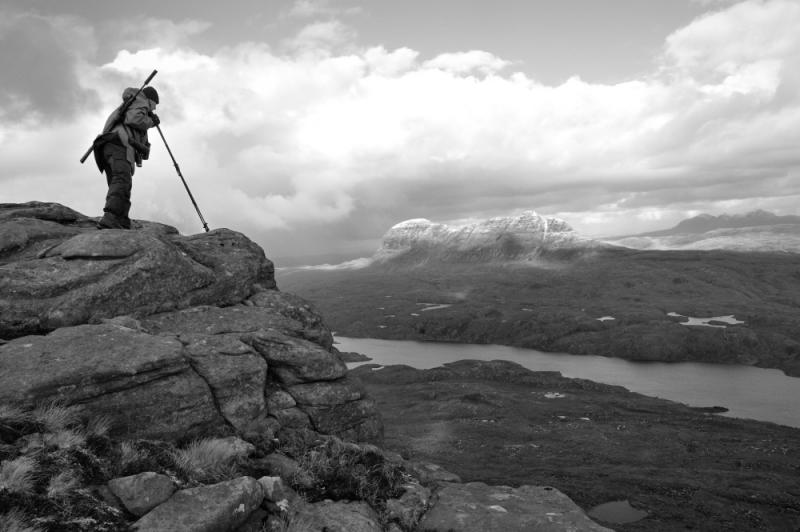 Assynt. Deer stalking. Looking for stags. Landscape. Black and white