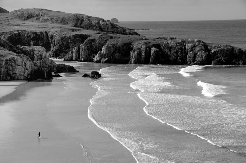 Durness beach, Sutherland. Seascape. Black and white