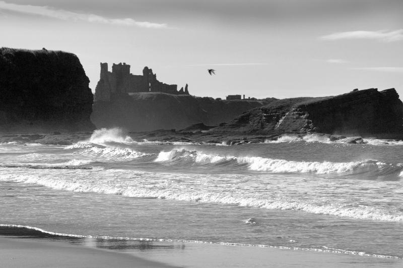 Tantallon Castle seascape, East Lothian. Black and white.