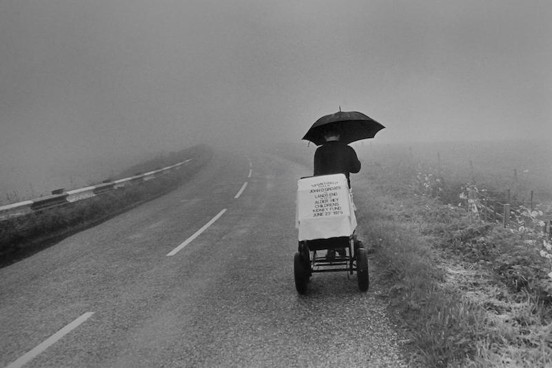 Charity walker on A9 walking from John O' Groats to Lands End
