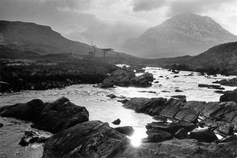 Evocative Torridon landscape, river and hills, Coulin Estate, Black and white