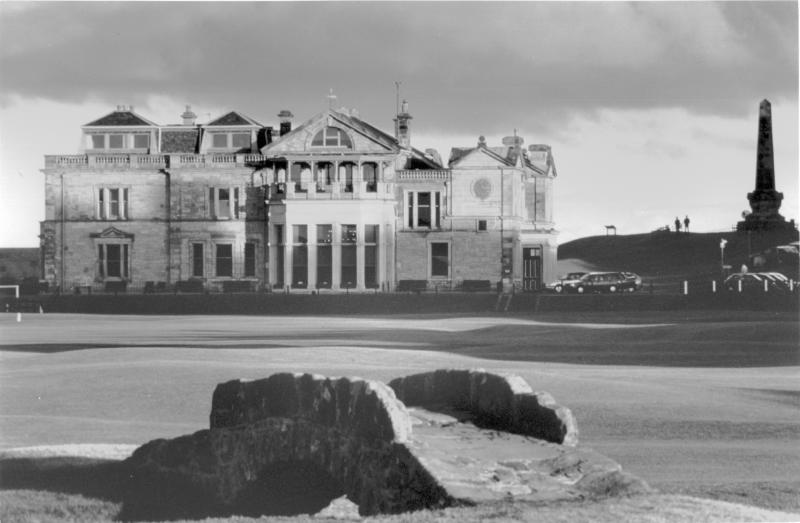 R&A Clubhouse, Old Course, St Andrews. Swilken Bridge. Black and white