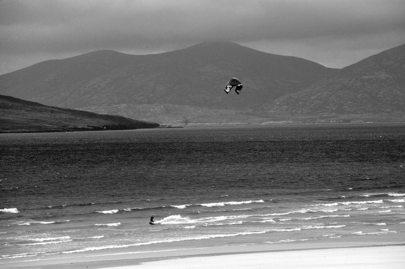 Harris seascape. Lone kite-surfer. Black and white print.