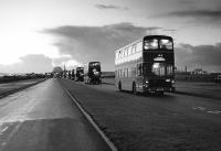 Buses leaving Dounreay nuclear power station, Caithness