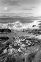 Luskentyre seascape, waves breaking, Harris. Black and white