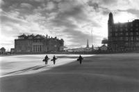 Old Course St Andrews. Clubhouse and players. Black and white