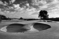 Carnoustie Golf Course, 13th green and bunkers. Black and white