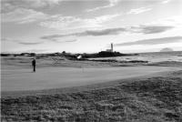 Turnberry golf course.11th green. Ailsa Craig and Lighthouse. Black and white
