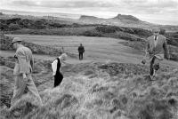 Mortonhall Golf Course, Edinburgh. Golfers in vintage clothing. Ball hunting. Black and white