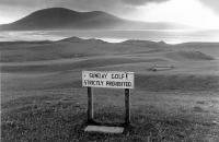 Harris golf course. No Sunday golf sign. Black and white