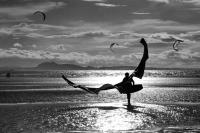 Longniddry East Lothian, beach. Kite-surfer. Evening. Black and white