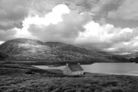 Loch Stack fishing bothy, landscape NW Sutherland. Black and white